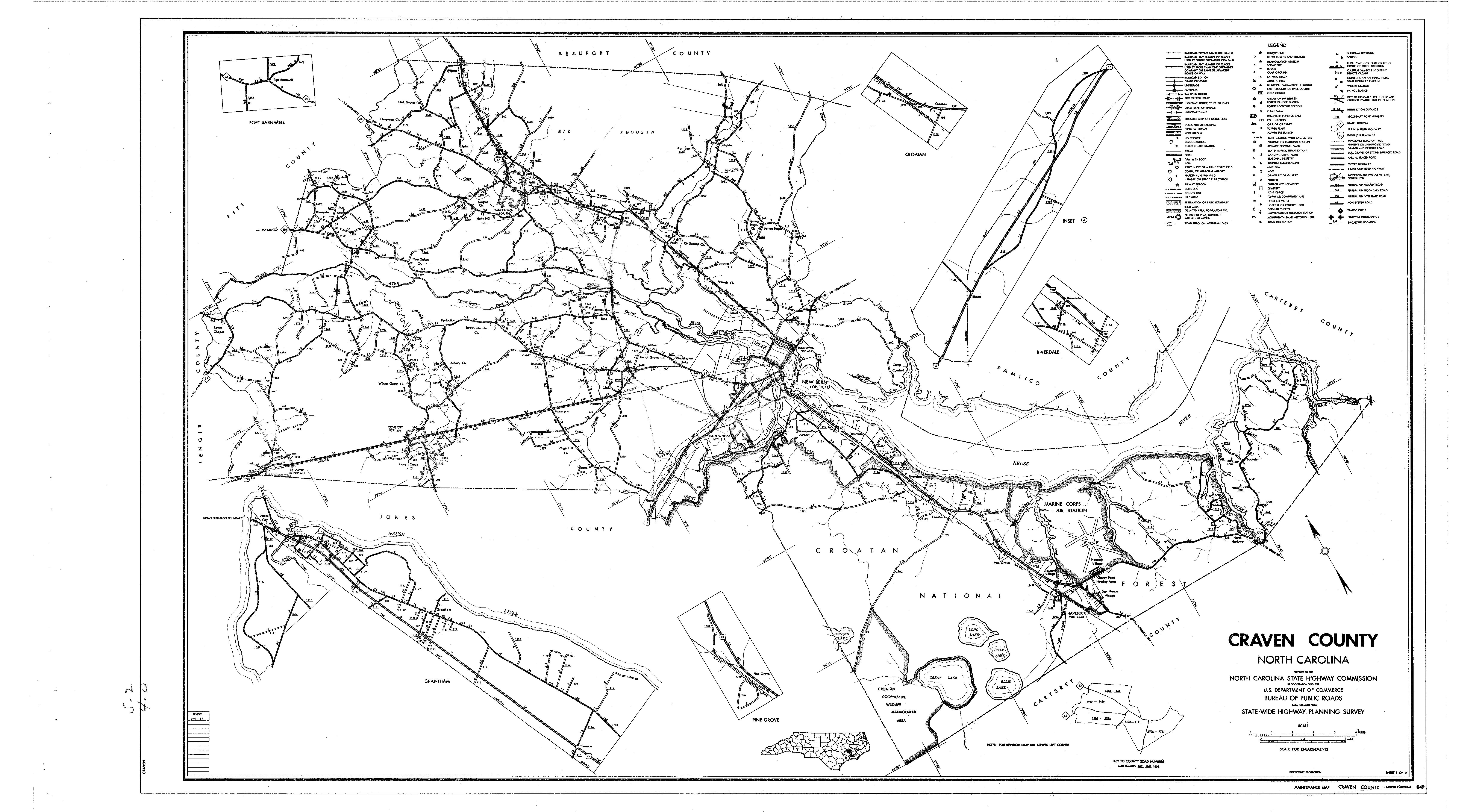 Craven county maps craven county map 1962 sciox Image collections